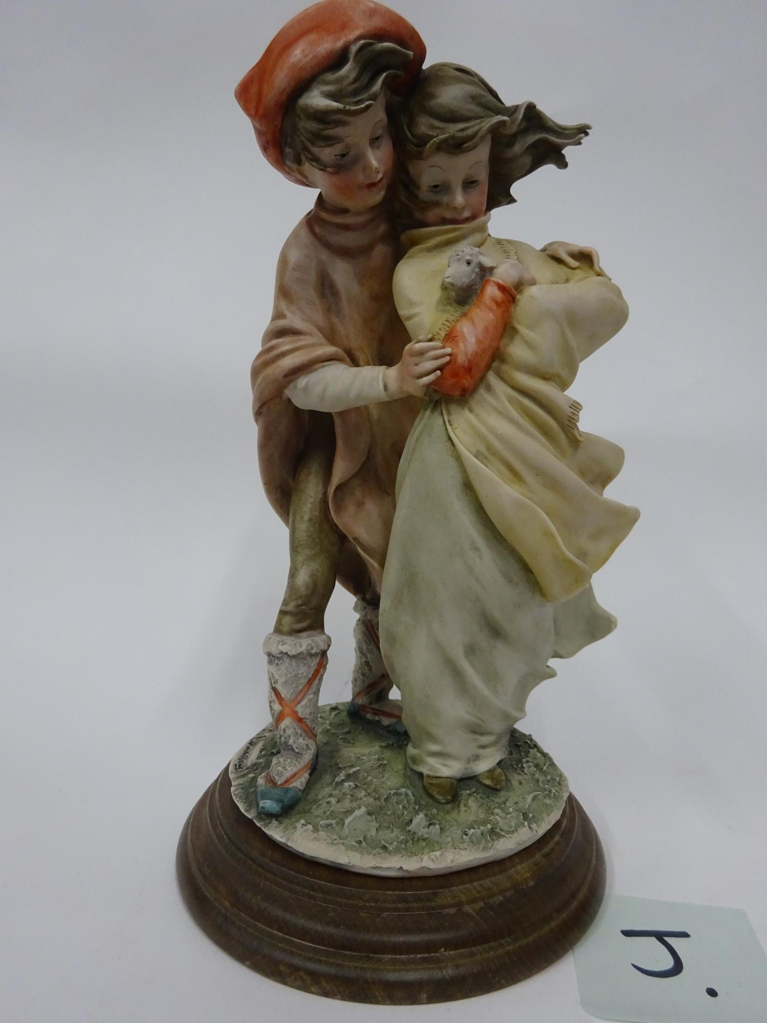 Lot 16 - Capodimonte - boy and girl with lamb