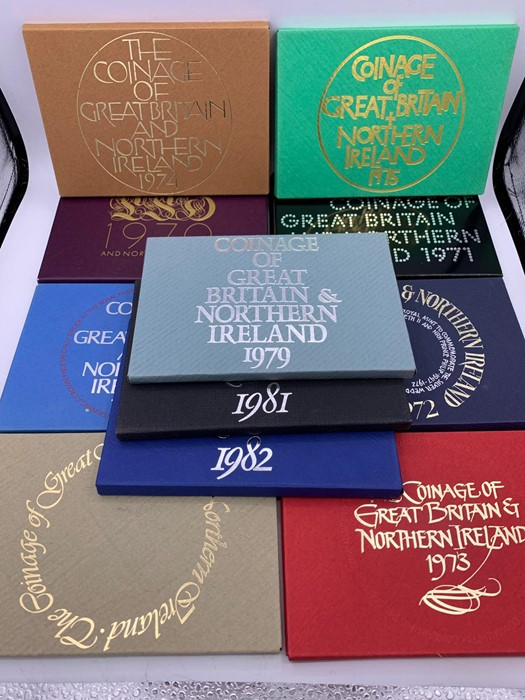 Lot 55 - A selection of GB proof coin sets for the years 1970-1977, 1979, 1981 and 1982.