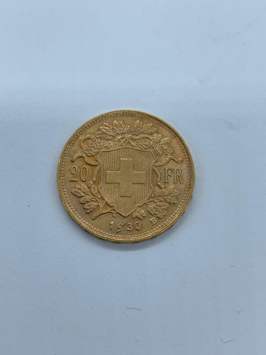 Lot 53 - A 1930 Swiss 20 Franc gold coin