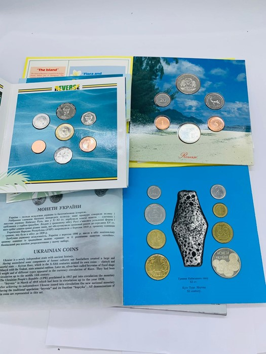 Lot 49 - Three coin collectors sets 40th Anniversary of the Bank of Jamaica, Circulation coins of Ukraine.