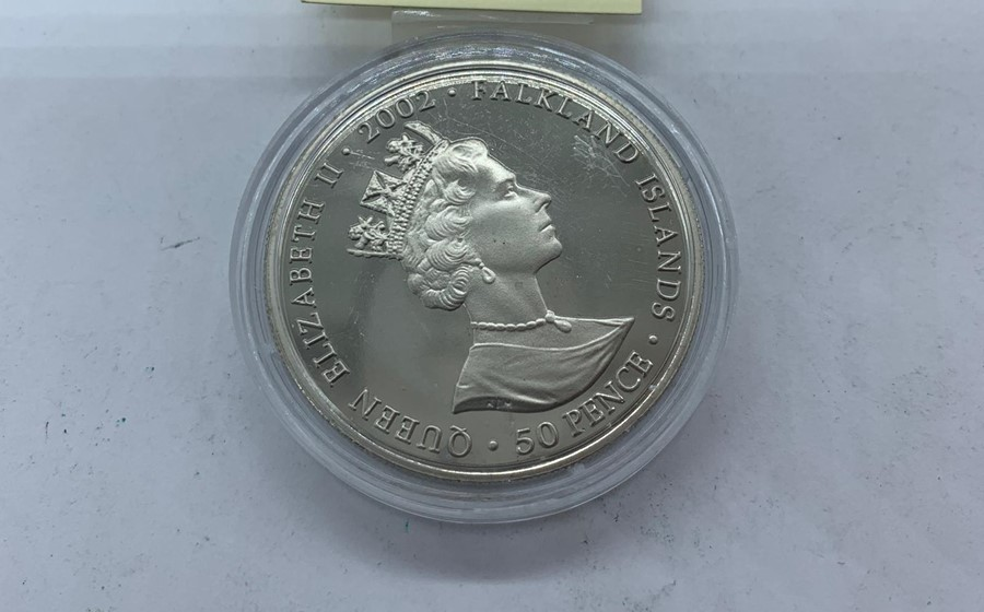 Lot 39 - Falkland Islands 50 Pence silver proof Golden Jubilee coin.