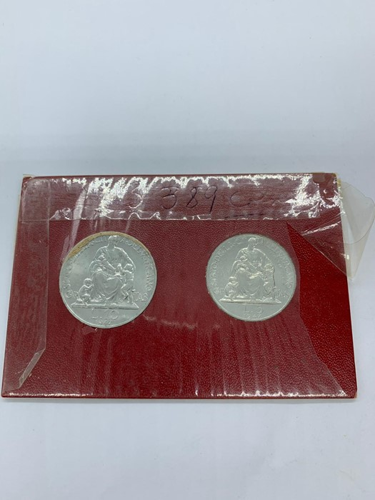 Lot 24 - A Presentation pack for Vatican Bank 1947 5 and 10 lire coins, Pop Pius XII