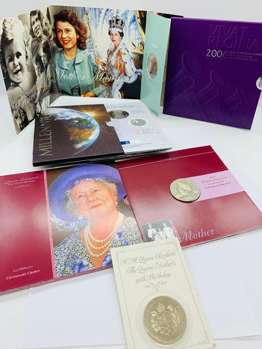 Lot 25 - Five coin presentation packs for Five Pound coins. The Queen Mother's 90th Birthday, Diana