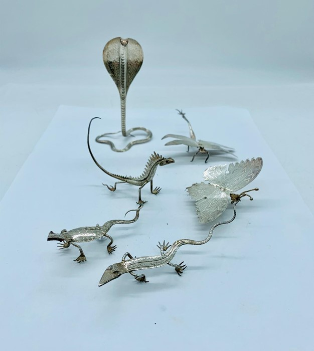 Lot 7 - A selection of white metal animals