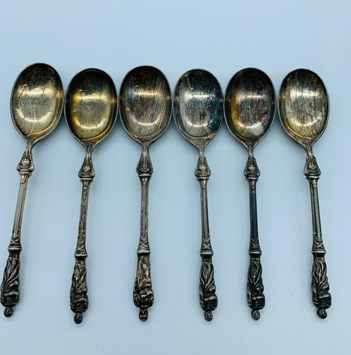 Lot 31 - A set of six silver plated apostle spoons by Atkins Bros. Batch 1 10th April 1876 from the design
