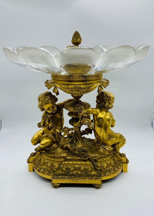 Lot 151 - A gilt bronze tazza with cupids and glass bowl AF
