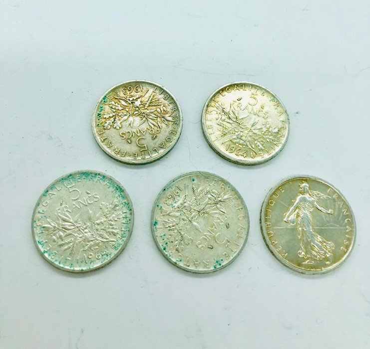 Lot 123 - Five French Five Franc coins from the 1960's.