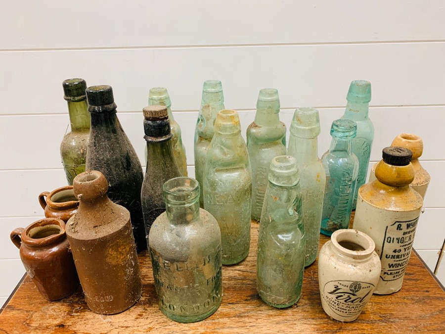 Lot 134 - A collection of glass Soda and Beer Codd bottles, Reading and Windsor area.