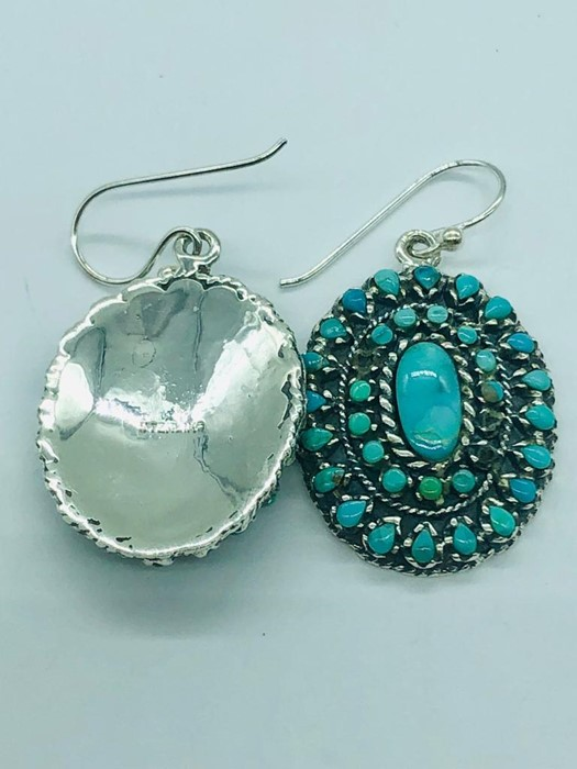 Lot 86 - A pair of silver and turquoise art deco style drop earrings