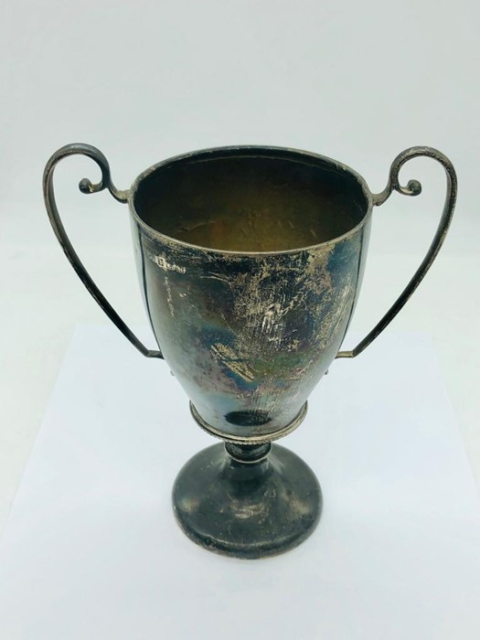 Lot 2 - A silver two handled cup, engraved and hallmarked Birmingham