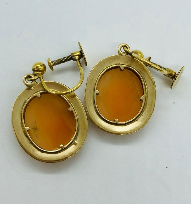 Lot 60 - A Pair of 9ct Gold Cameo Earrings (3.7g)