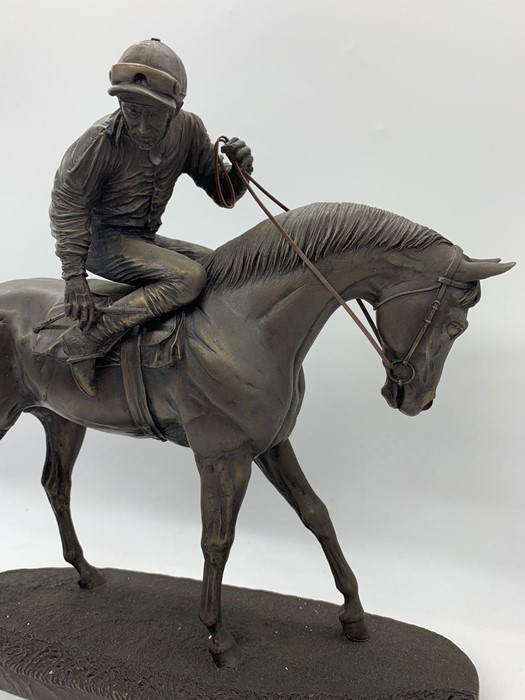 Lot 157 - A Bronzed Racehorse with jockey