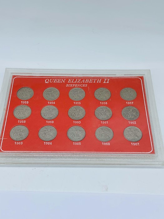 Lot 132 - A cased set Fifteen Queen Elizabeth II sixpences from 1953-1967