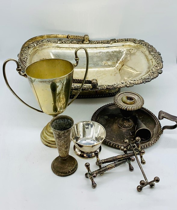 Lot 36 - A selection of silver plated items to include a trophy and handled basket etc