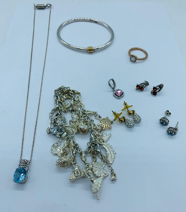 Lot 70f - A selection of silver and costume jewellery.