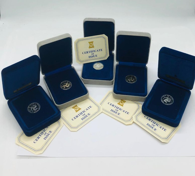 Lot 113 - Five Isle of Man one pound coin presentation packs.