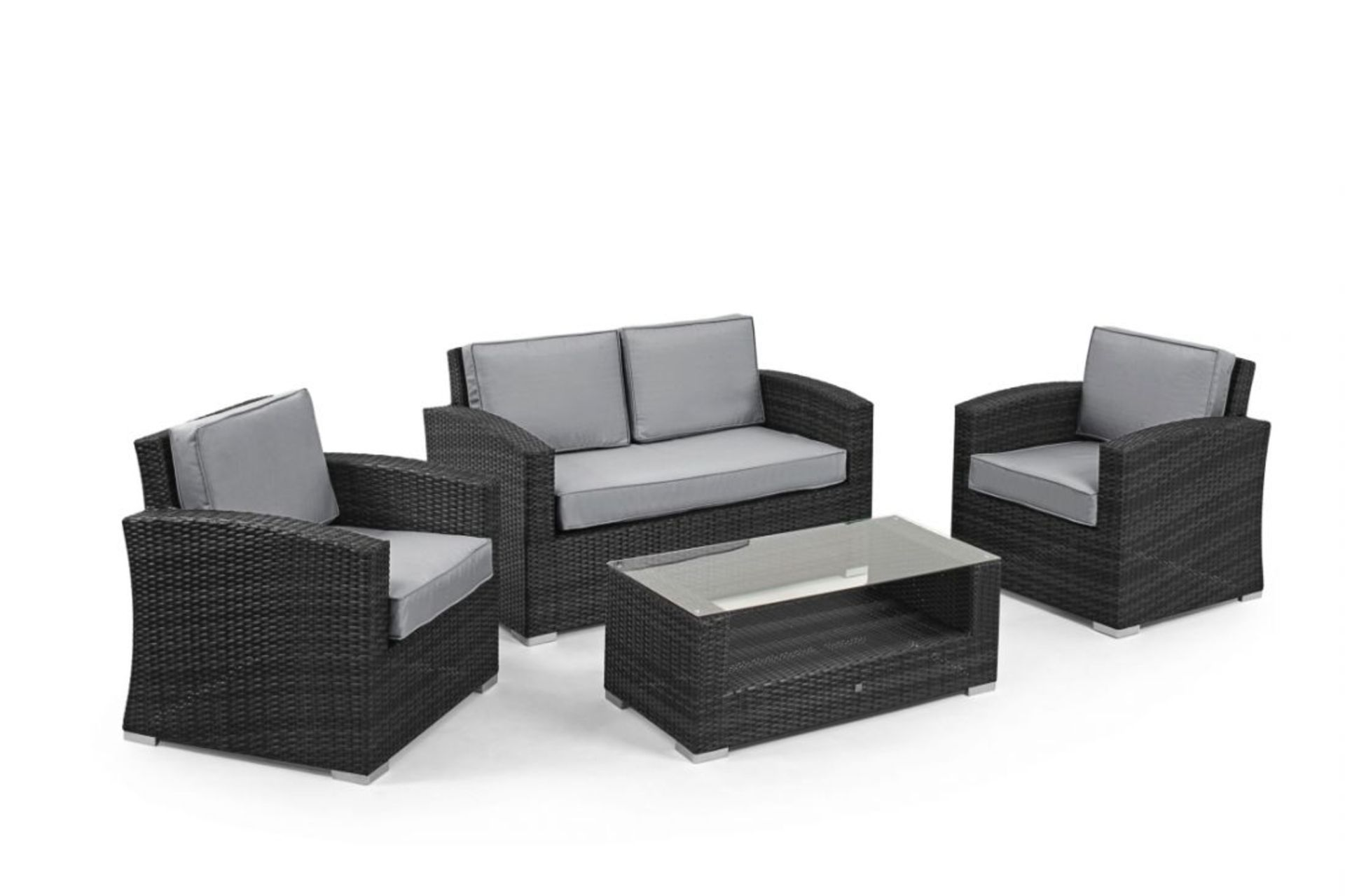 Lot 20 - Rattan Kingston 2 Seat Sofa Set (Grey) *BRAND NEW*