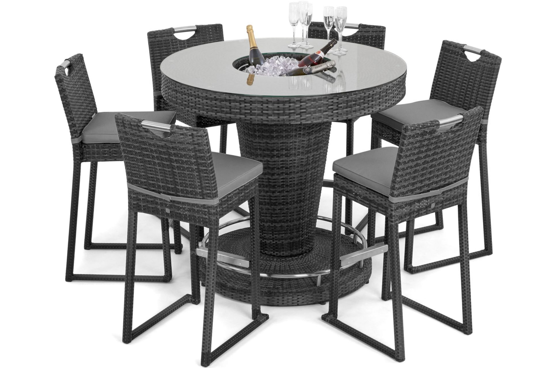 Lot 18 - Rattan 6 Seat Bar Set With Ice Bucket Feature (Grey) *BRAND NEW*
