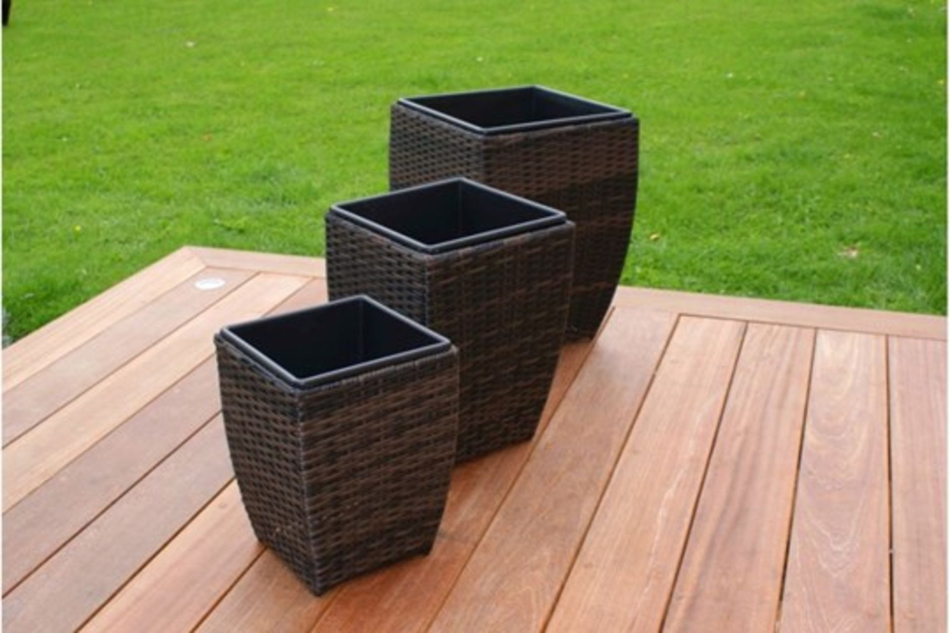 Lot 31 - Rattan Shaped Planters Set (Brown) *BRAND NEW*