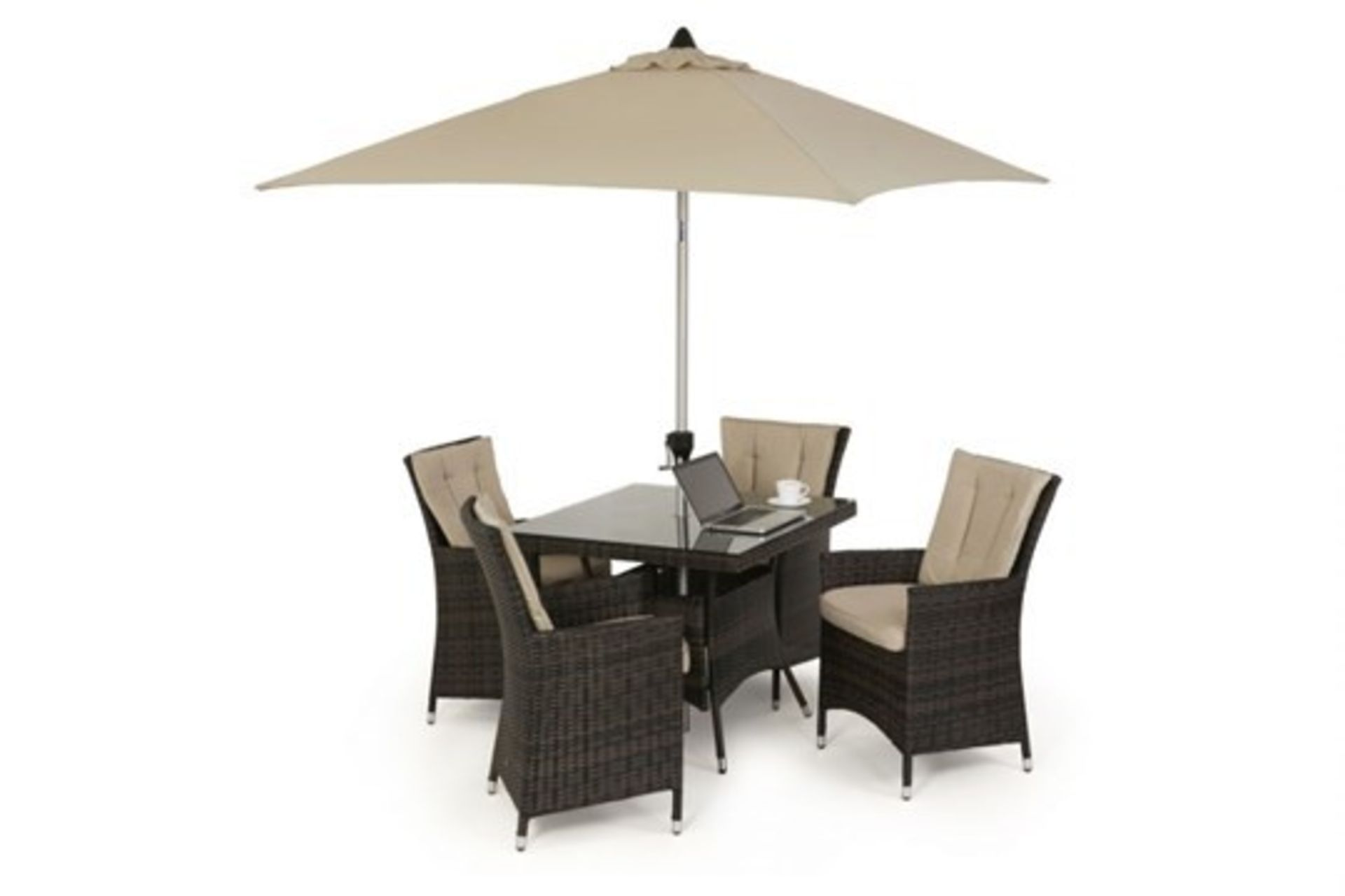 Lot 30 - Rattan LA 4 Seat Square Outdoor Dining Set With Parasol (Brown) *BRAND NEW*