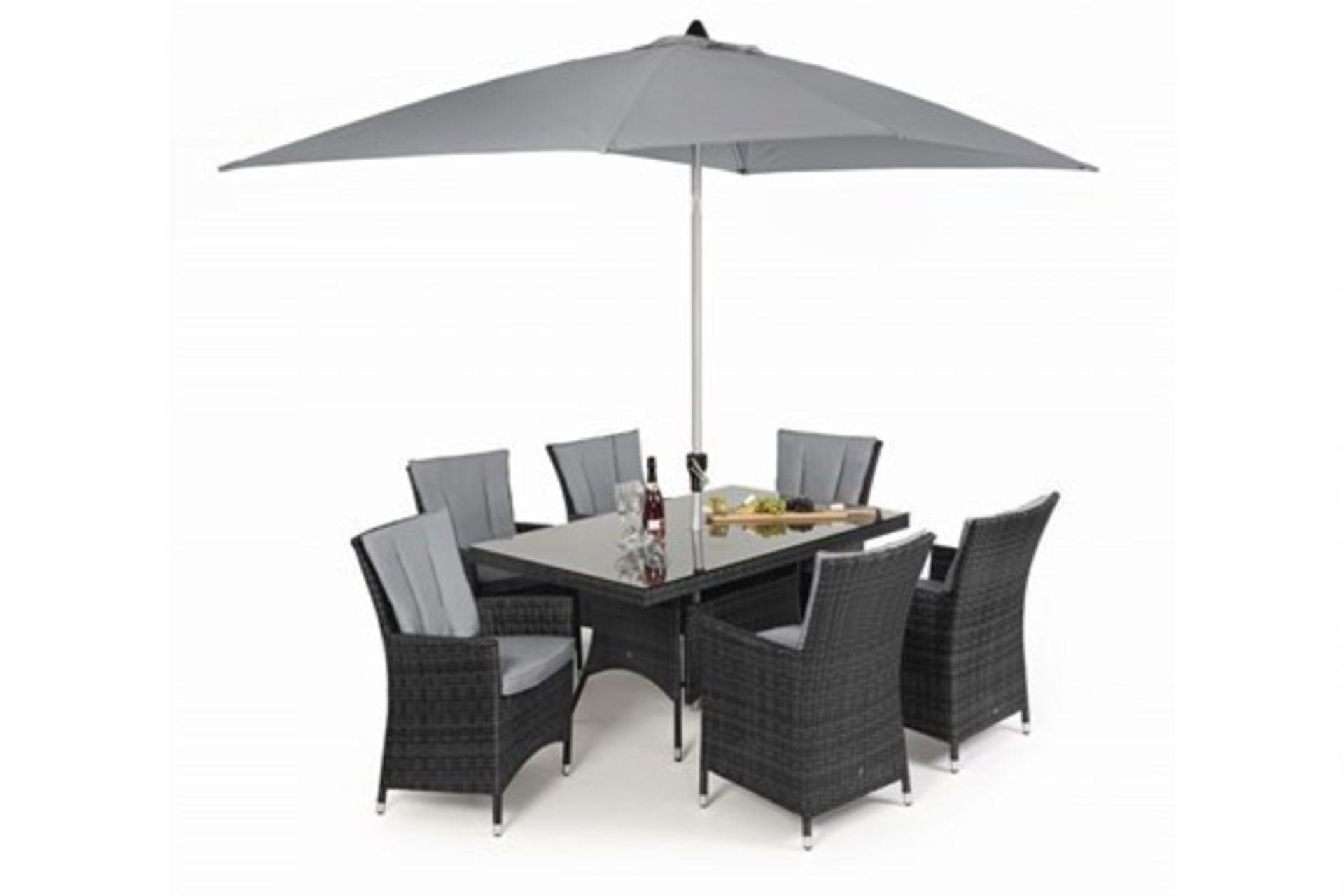 Lot 24 - Rattan LA 6 Seat Rectangular Outdoor Dining Set With Parasol (Grey) *BRAND NEW*