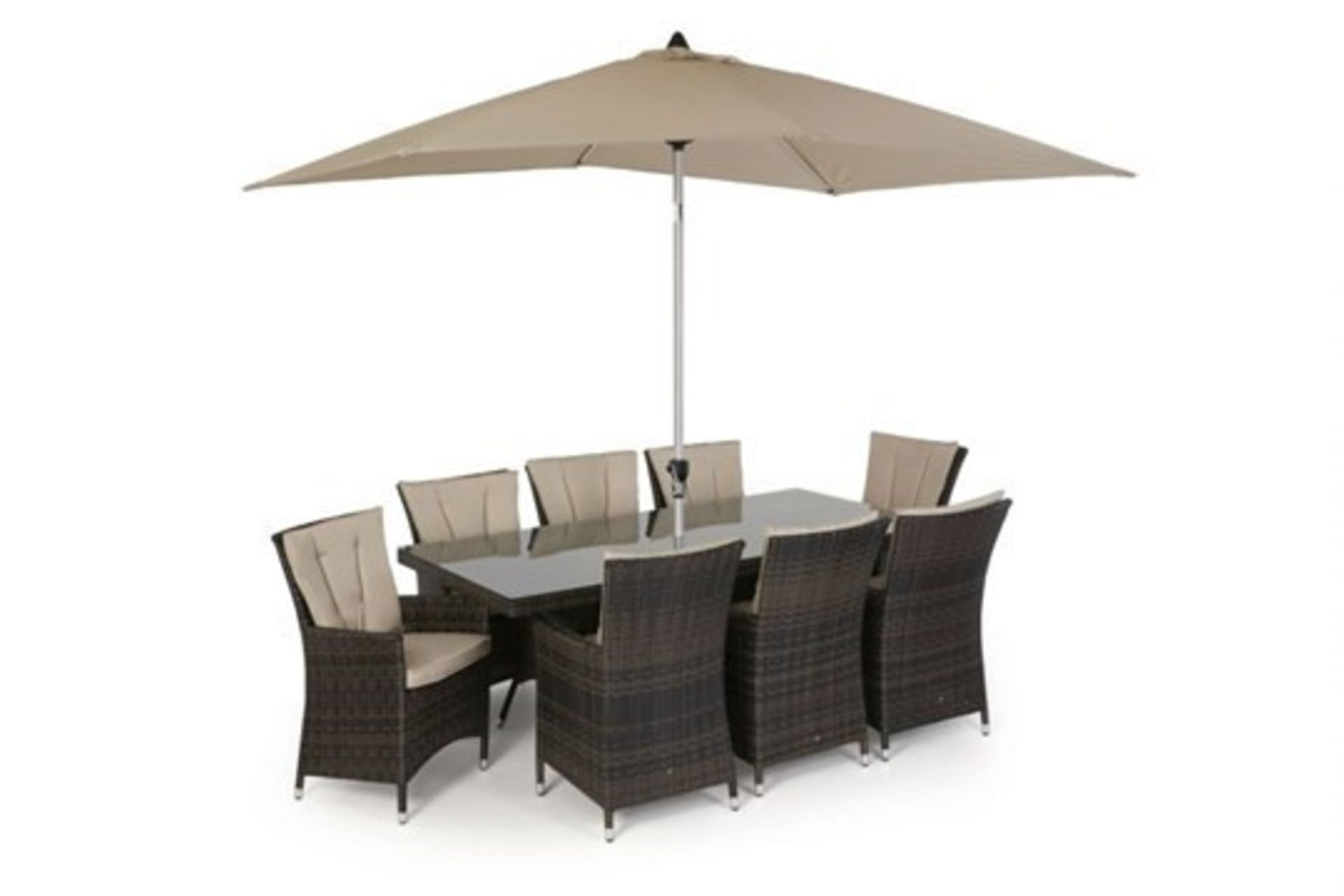 Lot 35 - Rattan LA 8 Seat Rectangular Dining Set With Parasol (Brown) *BRAND NEW*