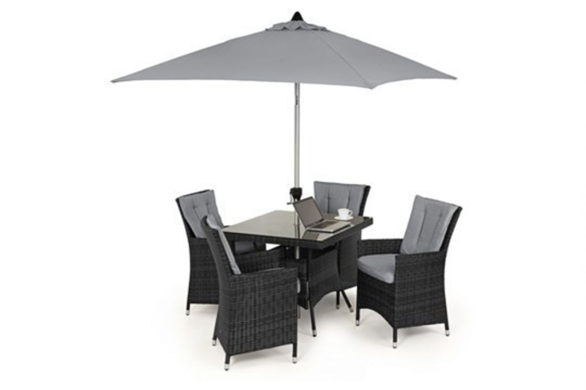 Lot 29 - (Reserve Met) Rattan LA 4 Seat Square Outdoor Dining Set With Parasol (Grey) *BRAND NEW*