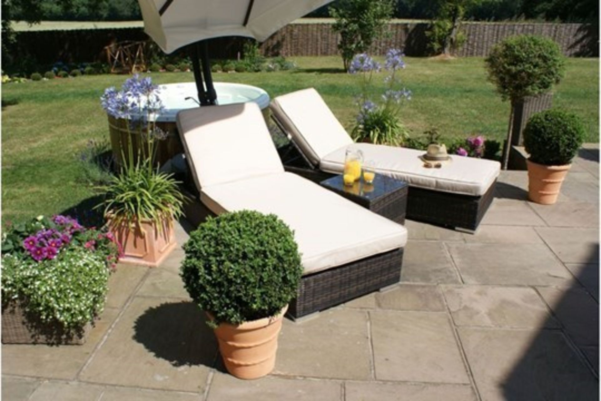 Lot 27 - Rattan Orlando Sun lounger Set (Brown) *BRAND NEW*
