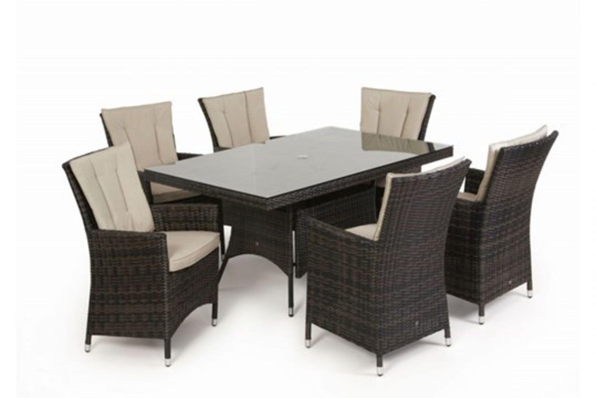 Lot 25 - Rattan LA 6 Seat Rectangular Outdoor Dining Set With Parasol (Brown) *BRAND NEW*