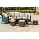 Rattan Venice Corner Outdoor Dining Set With Ice Bucket And Rising Table (Brown) *BRAND NEW*