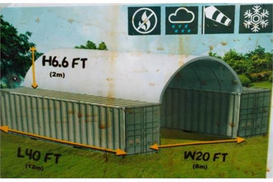 "Lot 15 - Container Shelter 20'W x 40'L x 6'6"" H P/No C2040"