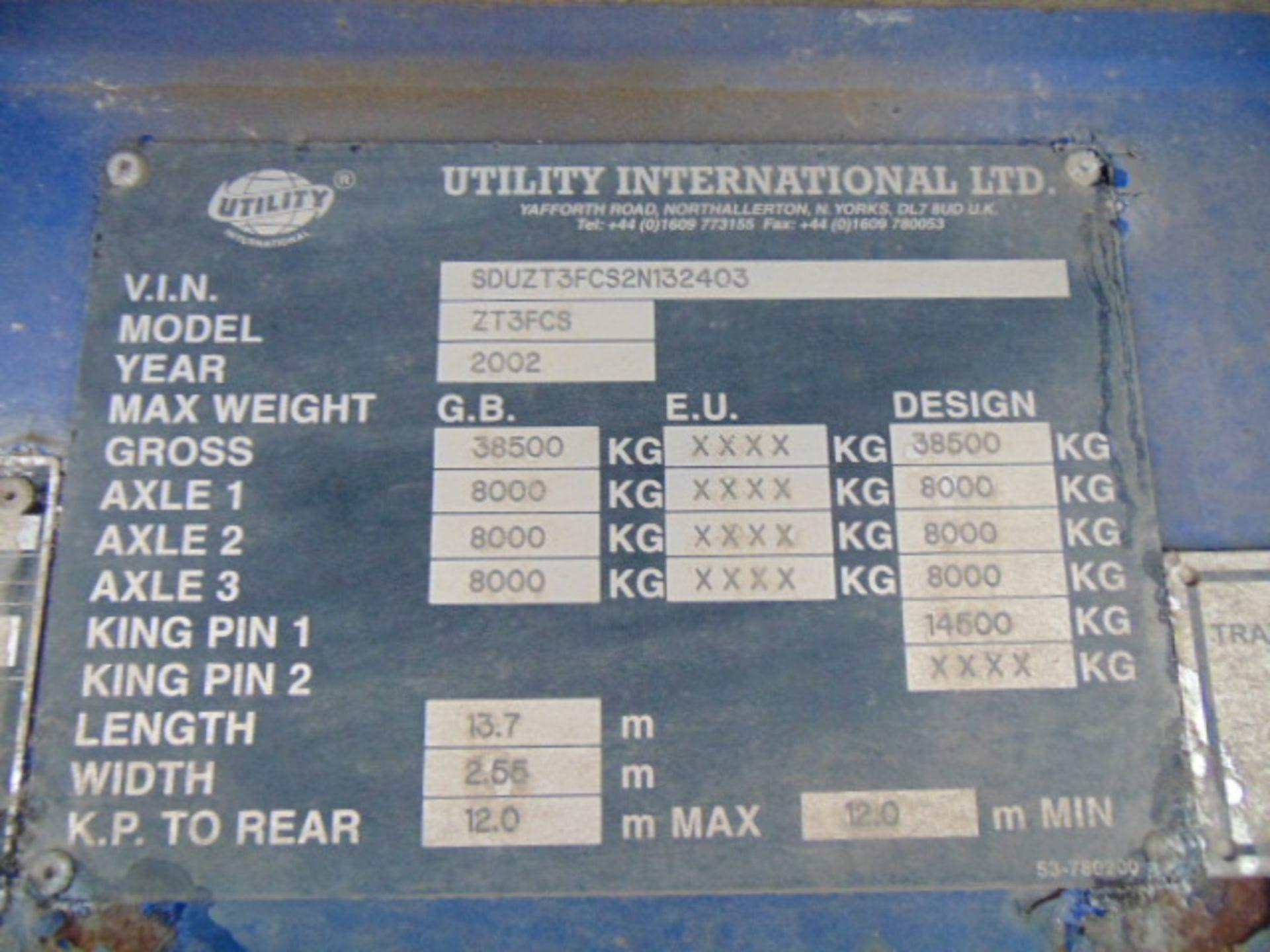 Lot 21 - Utility International ZT3FLS 44ft Tri Axle Curtainside Trailer