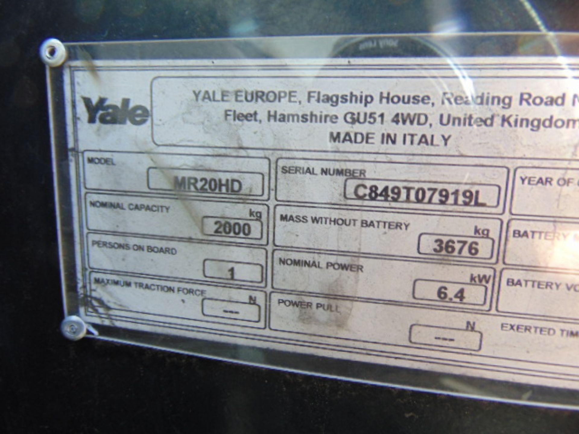 Lot 15 - 2013 Yale MR20HD Electric Reach Fork Lift Truck