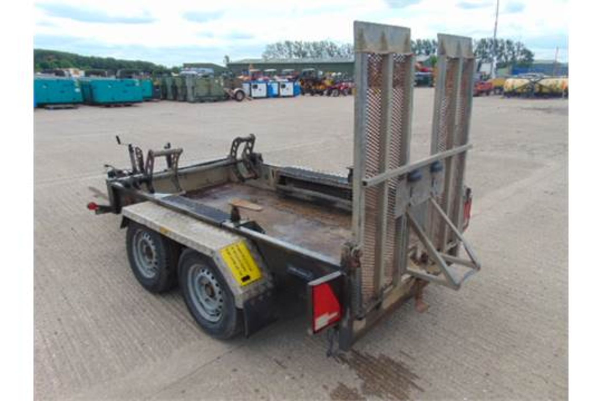 Lot 19 - Indespension 2700Kg Twin Axle Galvanised Plant Trailer C/W Track Locks and Rear Ramp