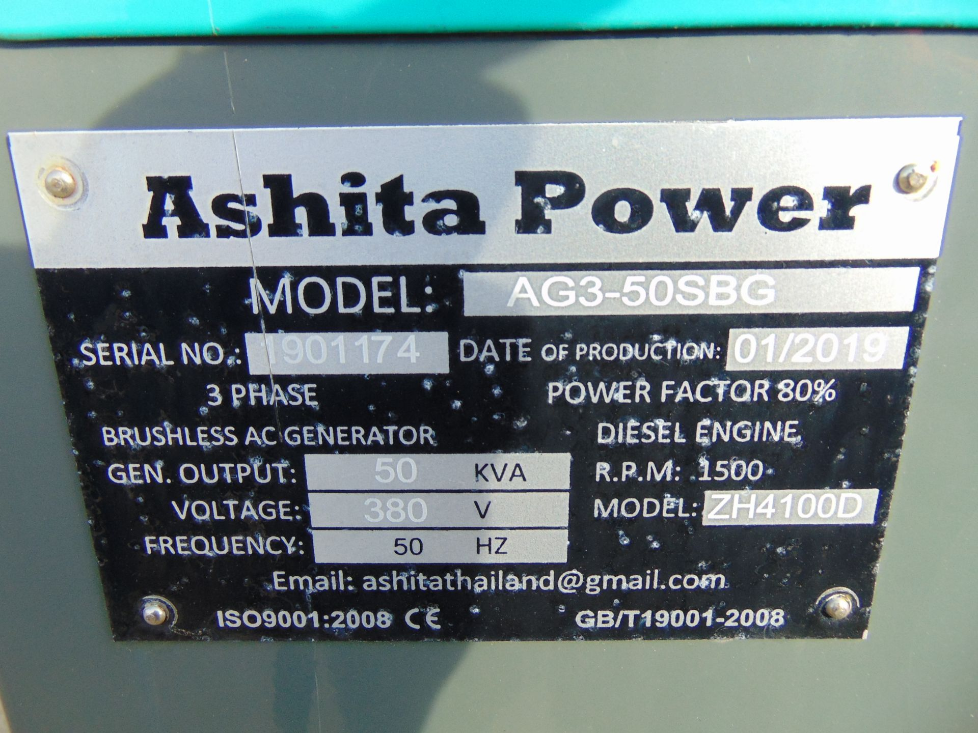 Lot 15 - UNISSUED 50 KVA 3 Phase Silent Diesel Generator Set