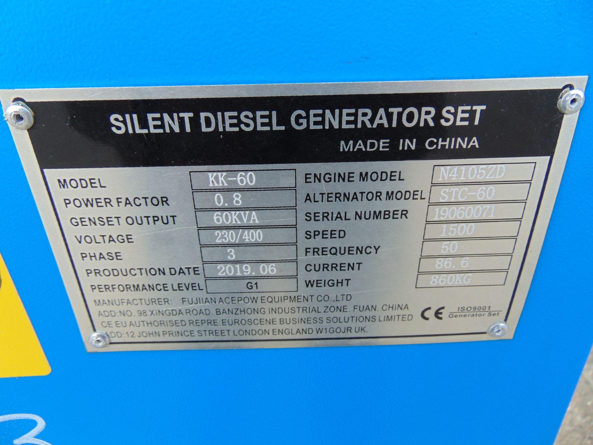 Lot 37 - UNISSUED 60 KVA 3 Phase Silent Diesel Generator Set