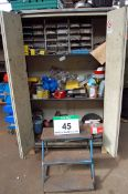 A Cream Steel 2-Door Cupboard with Contents comprising Various Nuts, Bolts, O-Rings, Rivets and A