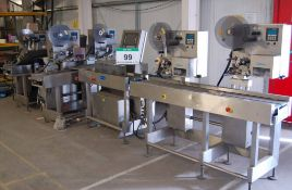 Three AEW DELFORD Weighing/Carton Labelling Stations each Station comprising An AEW DELFORD 8100
