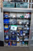 A Cream Steel Cabinet with A Quantity of Various Fittings including M12 M10 , M8 and M6 Bolts, MAHLE
