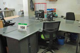 Four Grey Laminate Ergonomic Workstations, Two Grey Laminate 3-Drawer Filing Cabinets, Two Grey