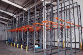 Ten Bays DEXION 2-Tier Drive-In Pallet Racking with Thirty Three 6M Tall Uprights, Twenty 5.3M
