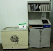 A Grey/Blue Steel Lectern Cabinet and A Glazed Display Chest Deep Freezer (240V)
