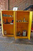 Two Yellow Steel 2-Door Flammables Cabinets