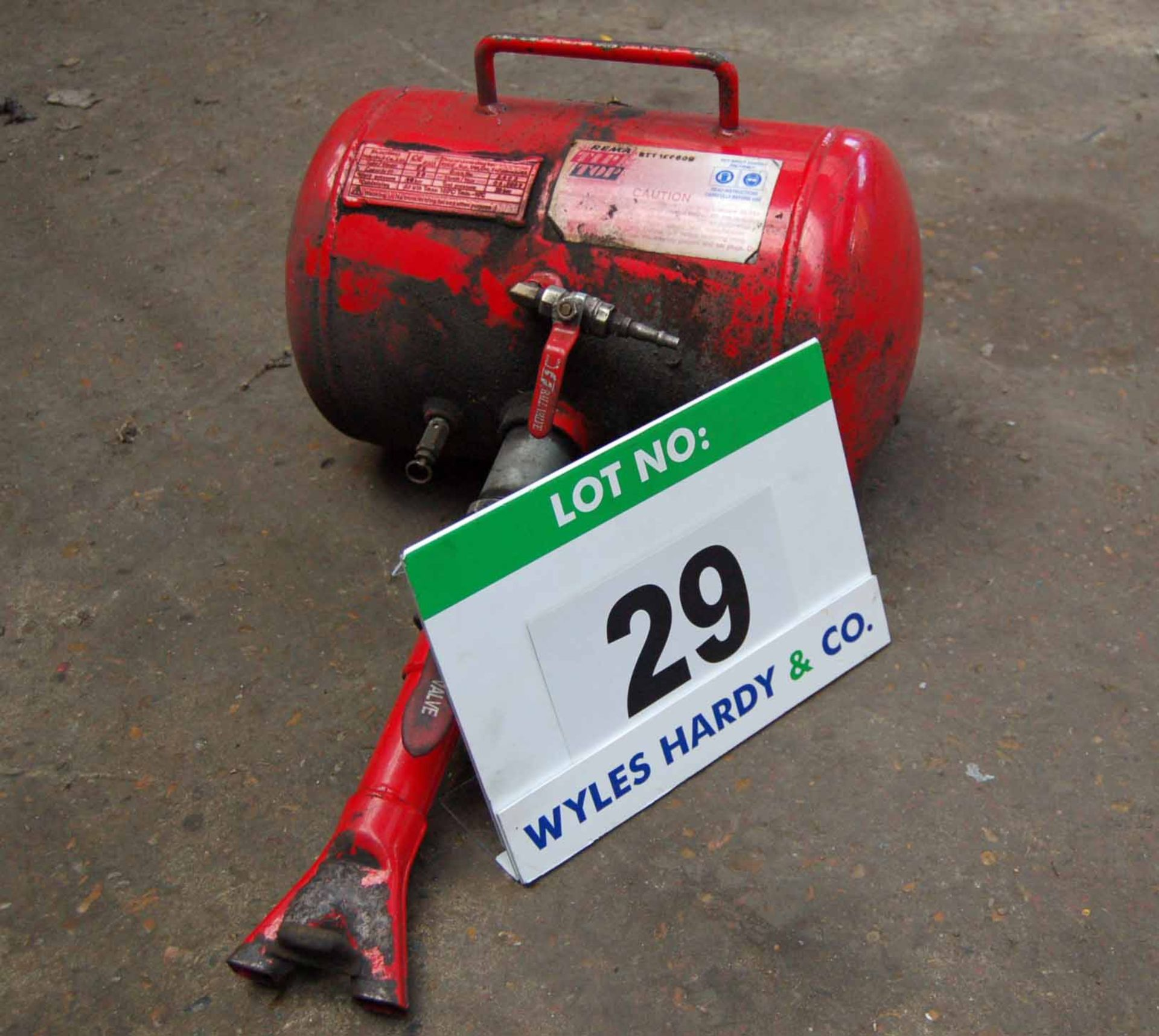 Lot 29 - A REMA Tip Top Portable Pneumatic Receiver Tank with Attachment (As Photographed)