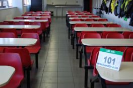 Nineteen White Laminate Canteen Tables, each 158cm x 60cm each with Six Red Plastic Fixed Bucket
