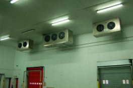 Two Stainless Steel Clad Ceiling mounted Triple Fan Chiller Fan Evaporator Units, Two Stainless