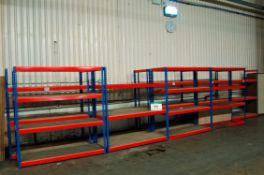 Eleven Bays RIVETO UA72 Orange/Blue Steel Parts Racks, 4-Tier/3-Tier/2-Tier, Overall each Bay