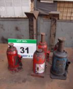 Five Various Hydraulic Bottle Jacks (No Crank Handles) and Two Various Mild Steel Stands