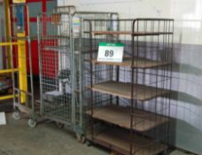 A 5-Tier Steel Wire Cage Trolley and Two Various Steel Wire Cage Trolleys