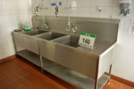 A Stainless Steel Triple Pot Wash Sink with Two Overhead Shower Lances (NOTE: Needs a Method